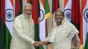 Prime Minister Modi with Hasina during his Dhaka trip