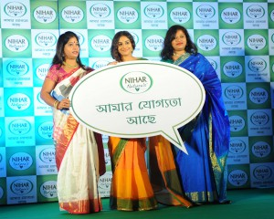 Bollywood star Vidya Balan along with two women achiever in an event in Kolkata